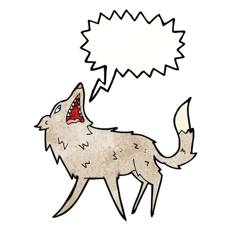 snapping: cartoon snapping wolf with speech bubble