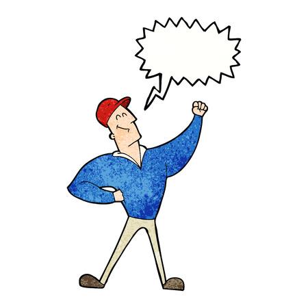 cartoon man striking heroic pose with speech bubble Illustration