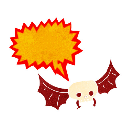 cartoon spooky skull bat with speech bubble Vector