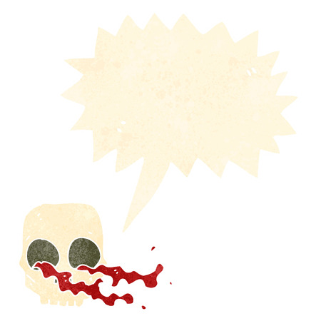 spook: cartoon gross skull with speech bubble
