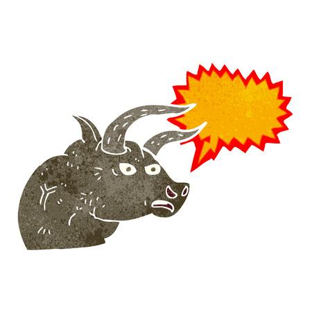 toro arrabbiato: cartone animato arrabbiato testa di toro con la nuvoletta Vettoriali