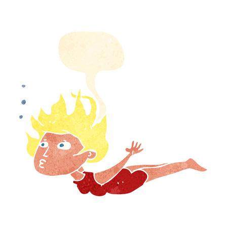 woman underwater: cartoon woman swimming underwater with speech bubble Illustration