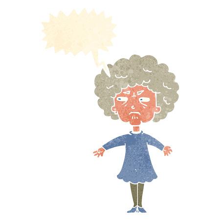 alte frau: Cartoon bittere alte Frau mit Sprechblase