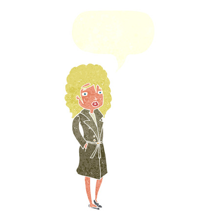 trench: cartoon woman in trench coat with speech bubble