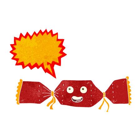 cracker: cartoon christmas cracker with speech bubble