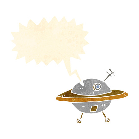flying saucer: cartoon flying saucer with speech bubble