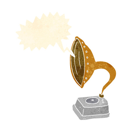 phonograph: cartoon phonograph with speech bubble Illustration