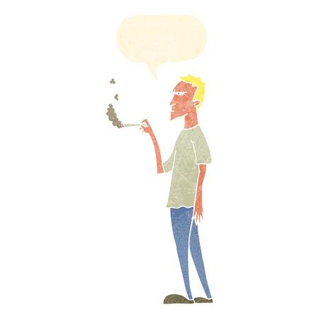 흡연자: cartoon annoyed smoker with speech bubble