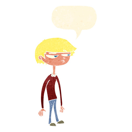 suspicious: cartoon suspicious boy with speech bubble Illustration