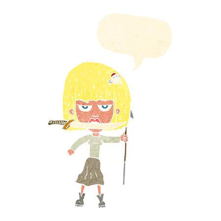 harpoon: cartoon woman with knife and harpoon with speech bubble