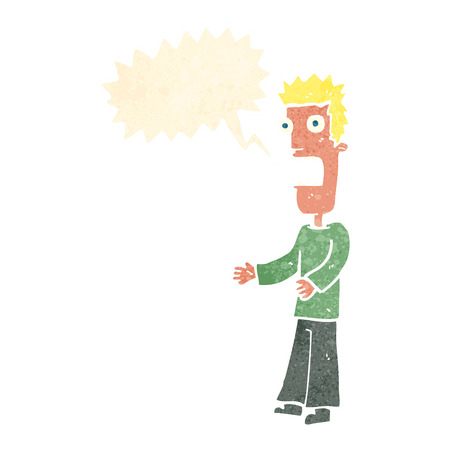 cartoon man freaking out with speech bubble Illustration