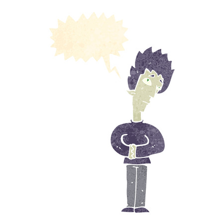 curious: cartoon curious vampire with speech bubble