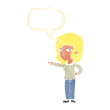 accuse: cartoon woman pointing with speech bubble