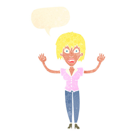 stressing: cartoon woman stressing out with speech bubble