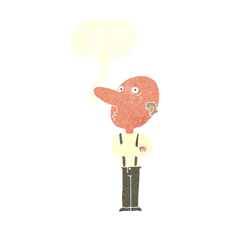 folded arms: cartoon old man with folded arms with speech bubble Illustration