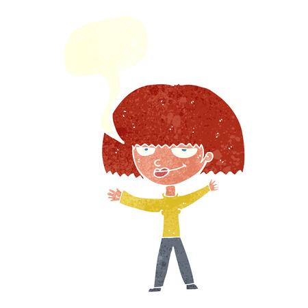 smug: cartoon smug woman with speech bubble