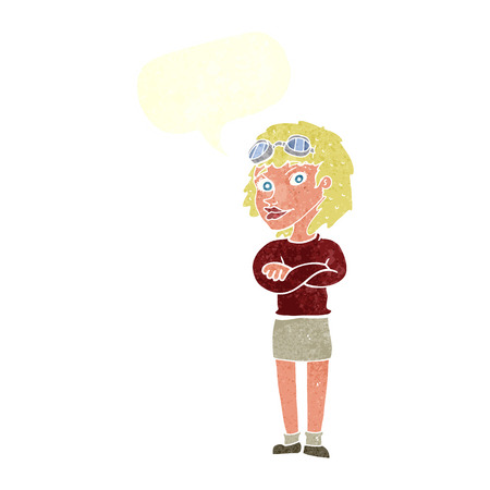 safety goggles: cartoon woman with crossed arms and safety goggles with speech bubble