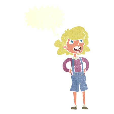 dungarees: cartoon woman in dungarees with speech bubble