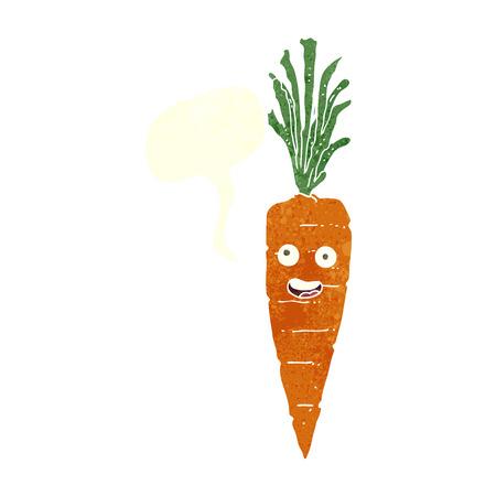 cartoon carrot: cartoon carrot with speech bubble