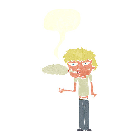 cartoon smoker with speech bubble Vector