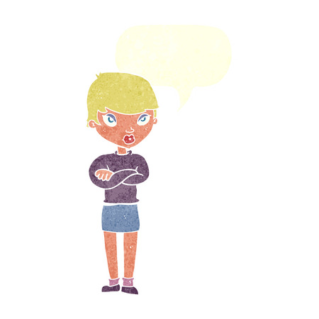 folded arms: cartoon annoyed woman with speech bubble