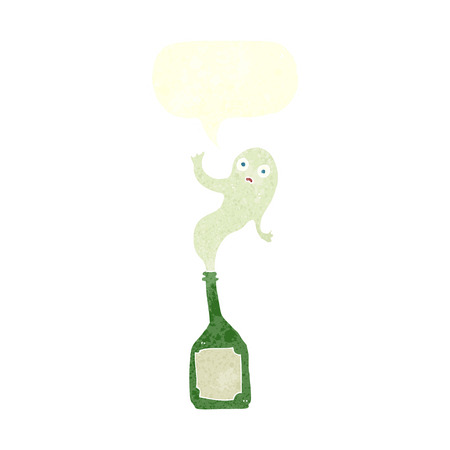 trapped: cartoon ghost in bottle with speech bubble