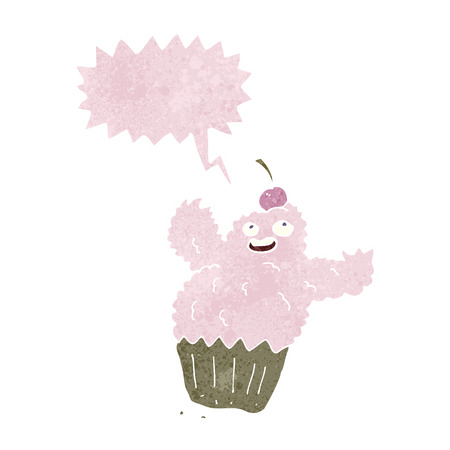 cartoon cupcake monster with speech bubble Vector