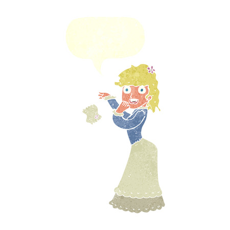 dropping: cartoon victorian woman dropping handkerchief with speech bubble Illustration