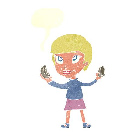 cartoon woman eating hotdogs with speech bubble Vector