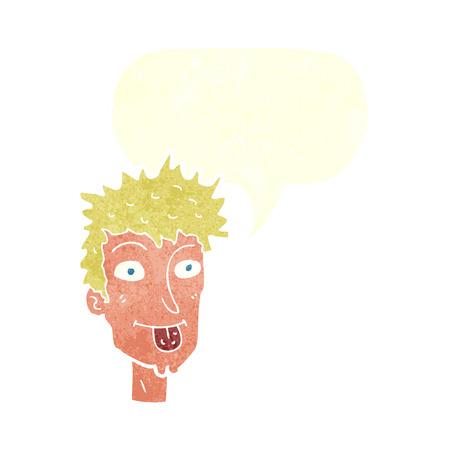 sticking out tongue: hombre de la historieta sacar la lengua con bocadillo