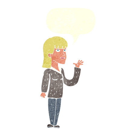 cartoon woman explaining with speech bubble Illustration