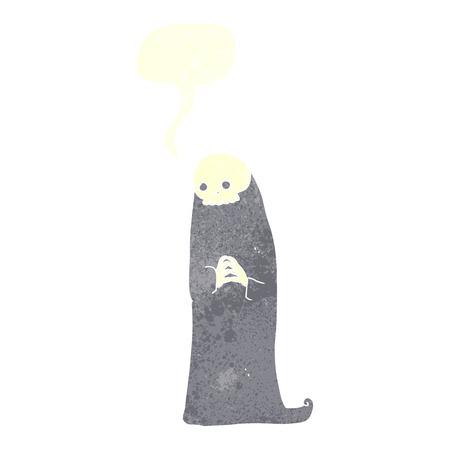 necromancer: cartoon halloween ghoul with speech bubble