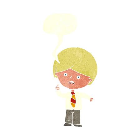 worried: cartoon worried school boy raising hand with speech bubble