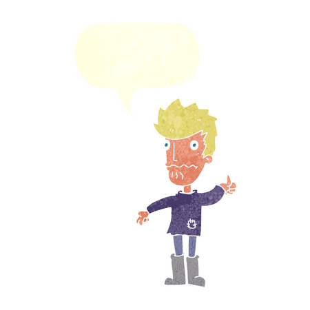 worried: cartoon worried man giving thumbs up symbol with speech bubble