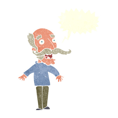 gasp: cartoon old man gasping in surprise with speech bubble