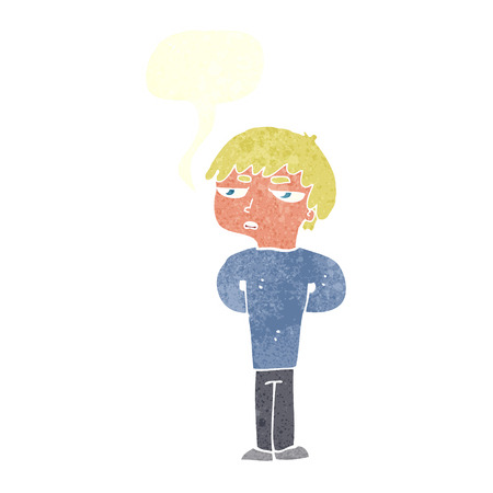 antisocial: cartoon antisocial boy with speech bubble Illustration