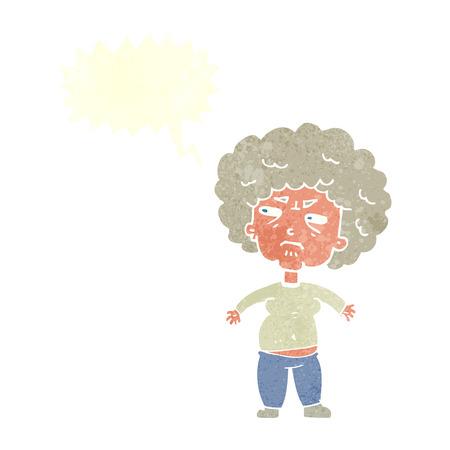 alte frau: Cartoon �rgerte alte Frau mit Sprechblase Illustration