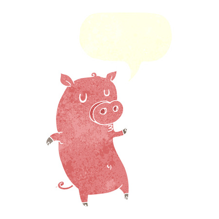 funny cartoon pig with speech bubble Illustration