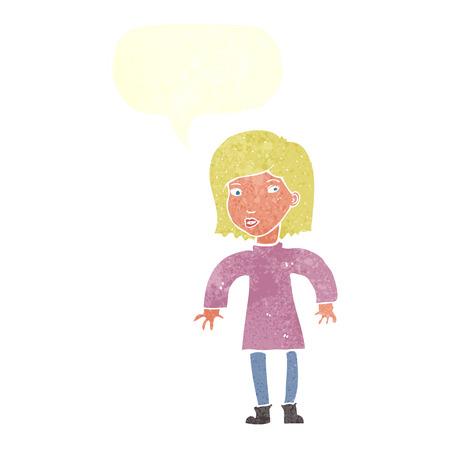 cautious: dibujos animados mujer cautelosa con bocadillo Vectores