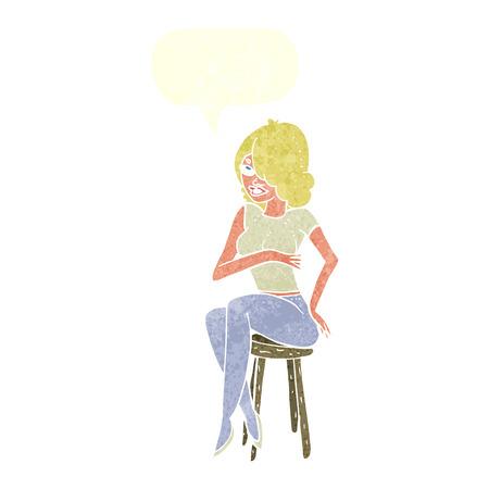 bar stool: cartoon woman sitting on bar stool with speech bubble