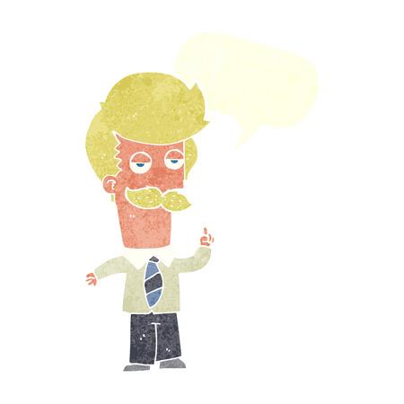explaining: cartoon mna with mustache explaining with speech bubble Illustration