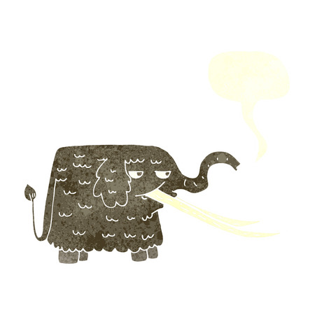 woolly: cartoon woolly mammoth with speech bubble