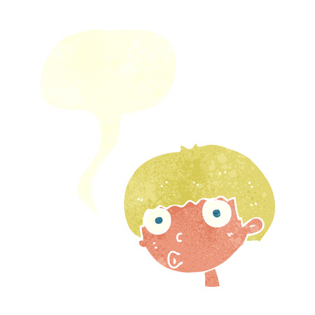 shocked man: cartoon surprised boy with speech bubble Illustration