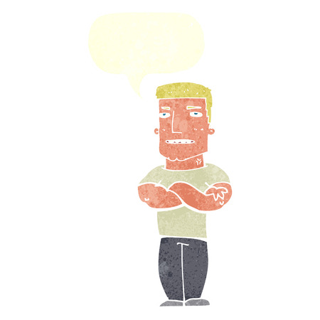 tough: cartoon tough guy with folded arms with speech bubble Illustration