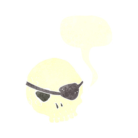eye patch: cartoon skull with eye patch with speech bubble Illustration