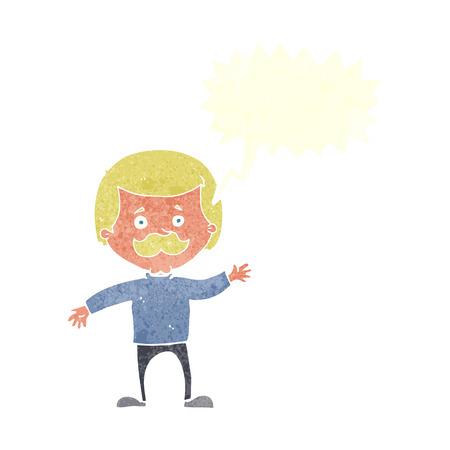 cartoon dad: cartoon dad waving with speech bubble Illustration