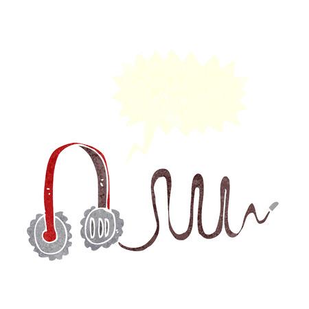 ear phones: cartoon headphones with speech bubble Illustration