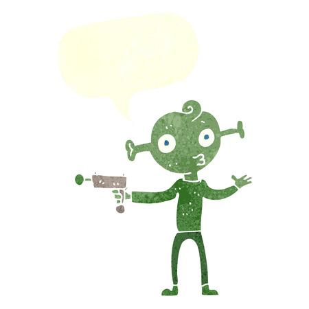 ray gun: cartoon alien with ray gun with speech bubble