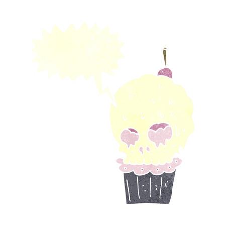 cartoon spooky skull cupcake with speech bubble Vector