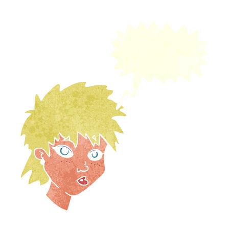 curious: cartoon curious girl with speech bubble Illustration